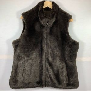 Liz Claiborne Reversible Faux Fur/Nylon Vest Size X Large